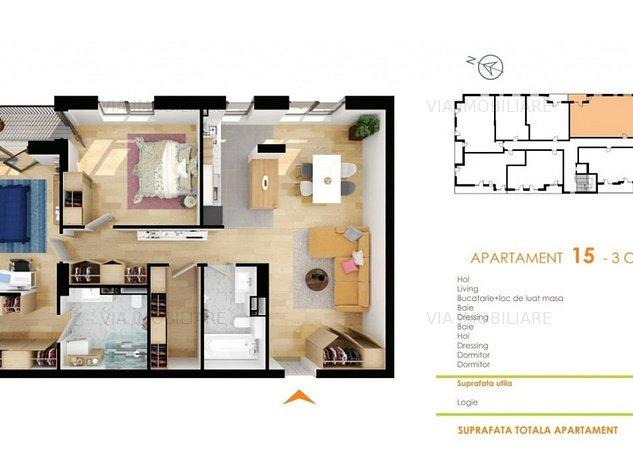 Apartament 3 camere, 85 mp, semifinisat cu CF, incalzire in pardoseala,Buna Ziua - imaginea 1