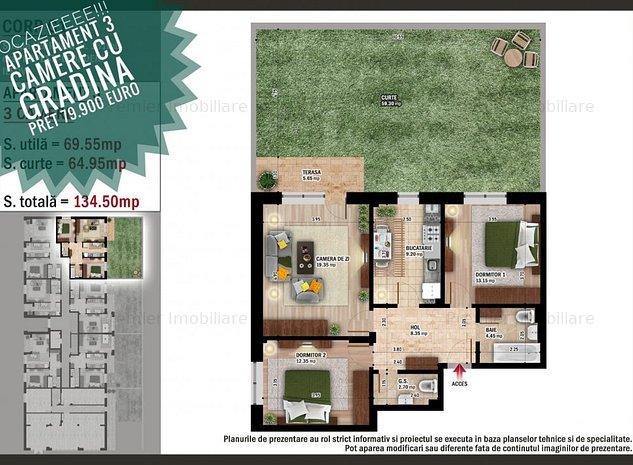 OCAZIE! Apartartament 3 camere cu GRADINA Primaria-Popesti Leordeni - imaginea 1