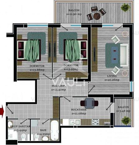 Cod P269 - Apartament 3 camere Bragadiru 115,89 mp utili - imaginea 1