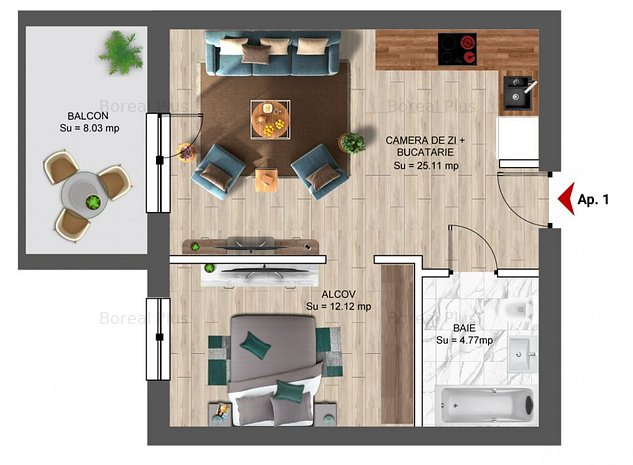 Apartament tip Studio dublu - BOREAL PLUS - imaginea 1
