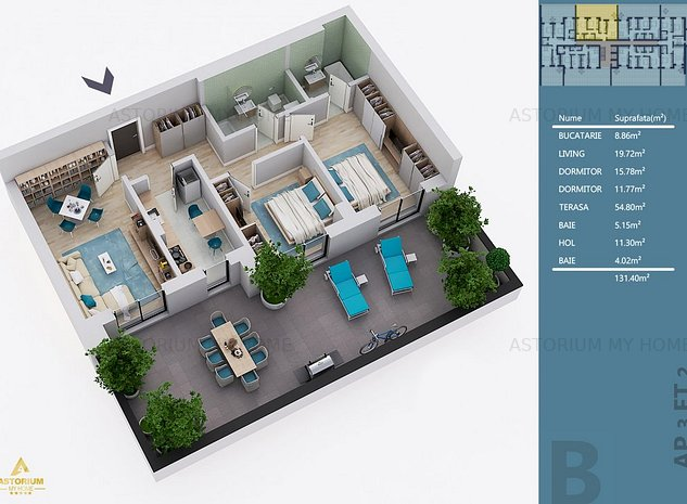 Apartament 3 camere cu terasa generoasa, 131mp, Ansamblul Astorium My Home - imaginea 1