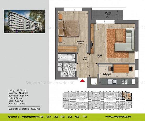 Apartament 3 camere decomandat Weiner 12. Residence Militari - imaginea 1