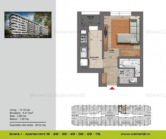 Garsoniera Decomandata Direct Dezvoltator Weiner 12 Residence - imaginea 1
