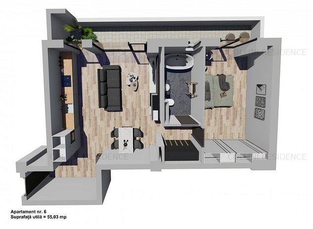 Apartament 2 camere cu terasa mare - imaginea 1