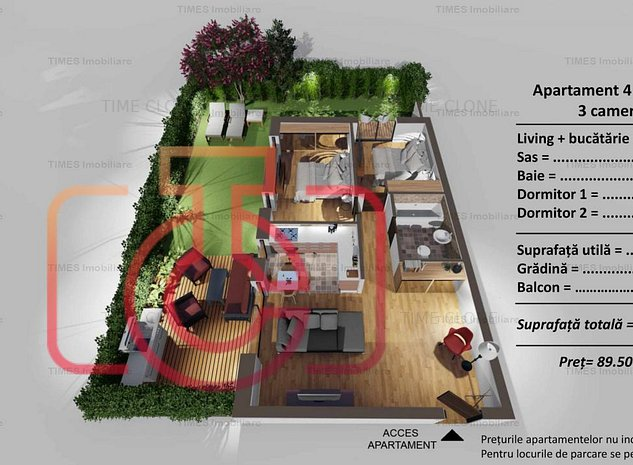 COMISION 0% Apartament cu 3 camere, gradina, zona Turnisor - imaginea 1