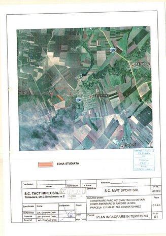 Teren 25870 mp Satchinez cu proiect aprobat pentru parc fotovoltaic 0,5 MWp - imaginea 1