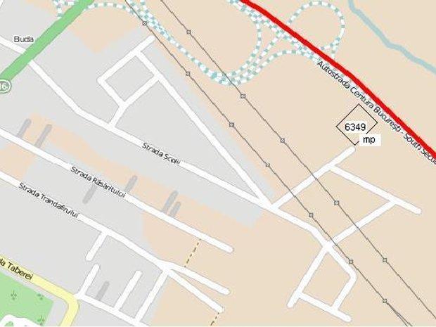 Harta cu locatia terenului: Centura de Sud  Inel A0 Bucuresti va trece prin fata terenului