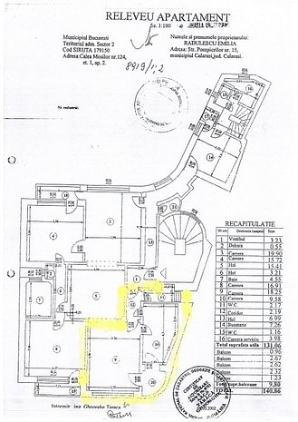 schita apartamentului garsoniera(galben)