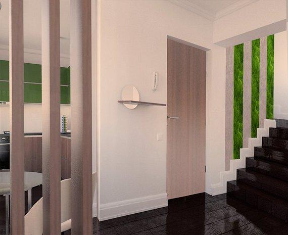 Intrare: Zona de intrare cu scara interioara spre terasa