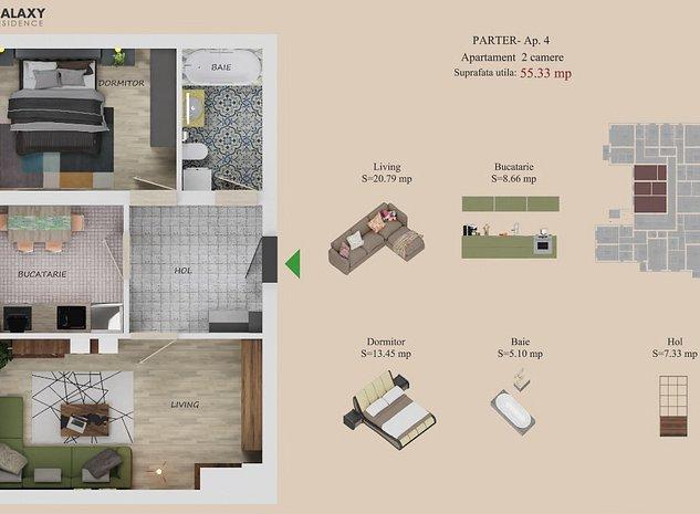 Apartament 2 camere 55 mp utili, finalizare MAI 2021 - imaginea 1