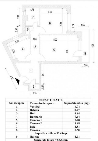 Apartament 2 camere, ultracentral, constructie 1981, termoizolat - imaginea 1